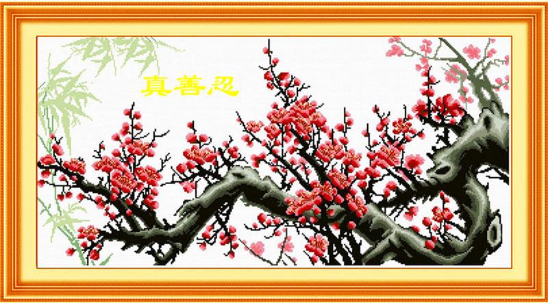 Цветущая сакура вышивка