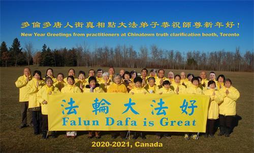 '图3:多伦多唐人街真相点大法弟子恭祝李洪志师父新年快乐!'