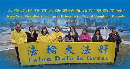 '图8:大多伦多旺市大法弟子恭祝李洪志师父新年好!'